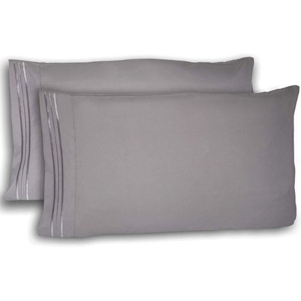 Super Silky Soft and Breathable Fabric Pillowcases - 4 Pack-Grey-Queen-Daily Steals