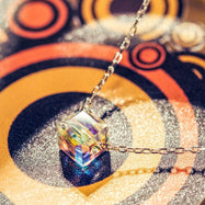 .925 Sterling Silver Aurora Borealis Cubed Pendant Necklace-Daily Steals