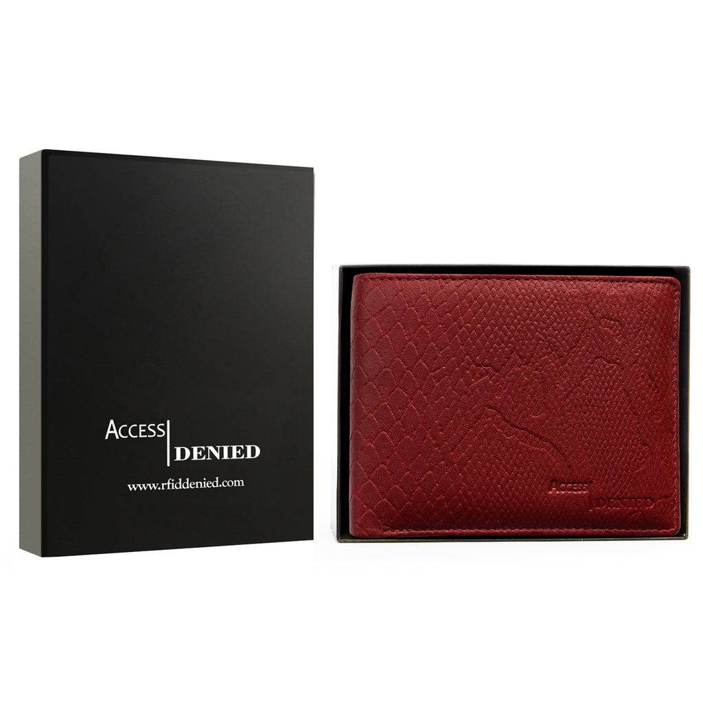 Access Denied Genuine Leather Bifold RFID Wallets For Men With Removable Card Holder-COGNAC PYTHON-Daily Steals