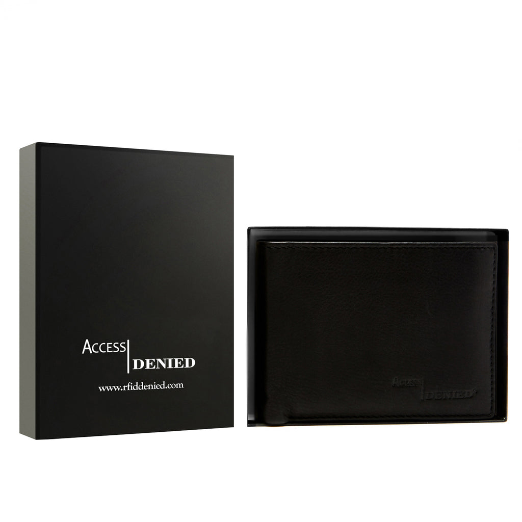 Access Denied Genuine Leather Bifold RFID Wallets For Men With Removable Card Holder-BLACK SMOOTH-Daily Steals