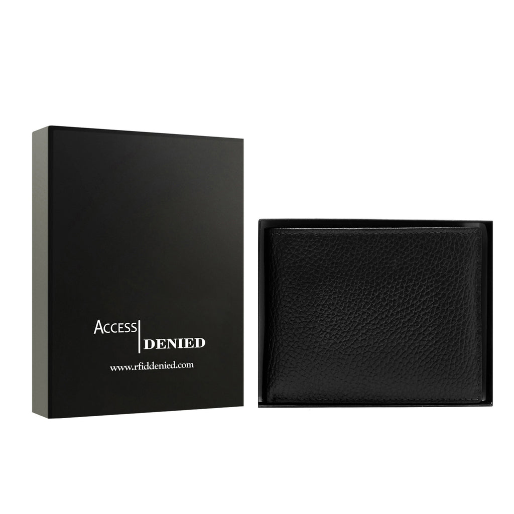 Access Denied Genuine Leather Bifold RFID Wallets For Men With Removable Card Holder-BLACK PEBBLE-Daily Steals