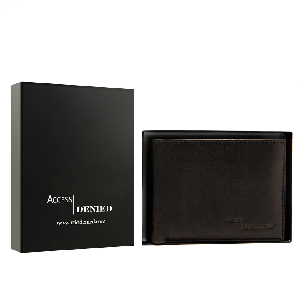 Access Denied Genuine Leather Bifold RFID Wallets For Men With Removable Card Holder-DARK BROWN SMOOTH-Daily Steals