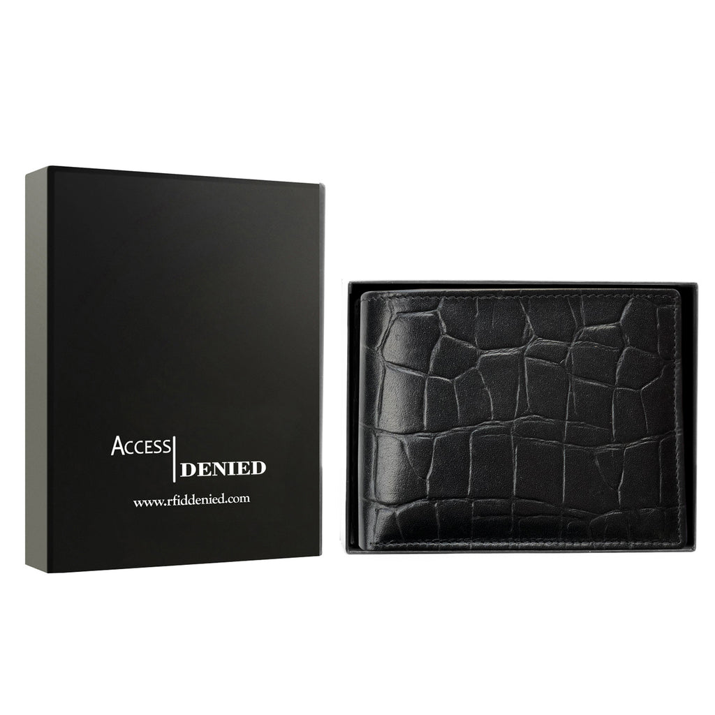 Access Denied Genuine Leather Bifold RFID Wallets For Men With Removable Card Holder-BLACK CROCO-Daily Steals