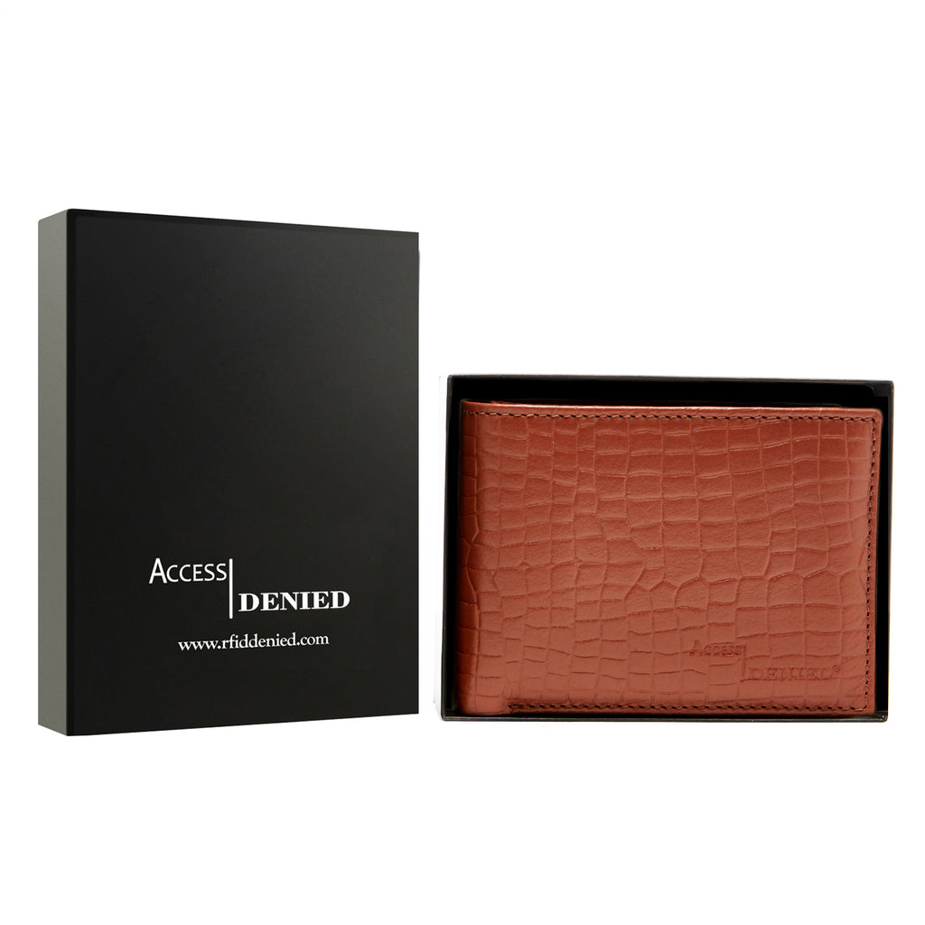 Access Denied Genuine Leather Bifold RFID Wallets For Men With Removable Card Holder-COGNAC CROCO-Daily Steals