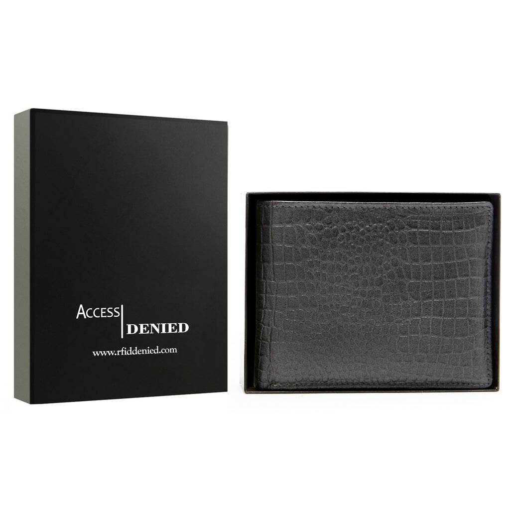 Access Denied Genuine Leather Bifold RFID Wallets For Men With Removable Card Holder-GRAY ALLIGATOR-Daily Steals