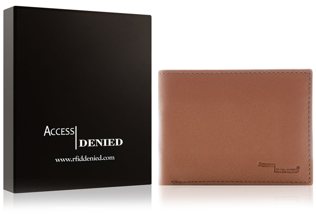 Access Denied Genuine Leather Bifold RFID Wallets For Men With Removable Card Holder-TAN-Daily Steals