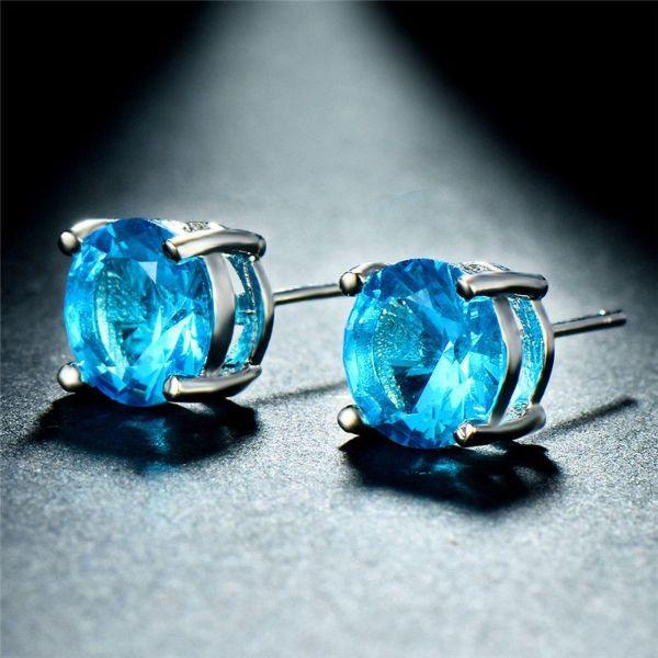Daily Steals-Swarovski Crystals 1.00 CT Blue Topaz Round 6mm Stud Earrings-Jewelry-