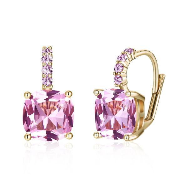 Daily Steals-Swarovski Crystals 2.00 Ct Pink Topaz Leverback Princess Cut Earringss-Jewelry-