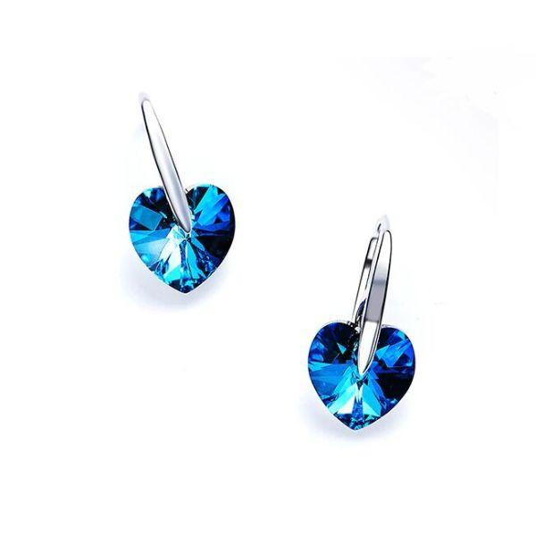 Daily Steals-Swarovski Crystals Bermuda Blue Hook Drop Earrings Earrings-Jewelry-