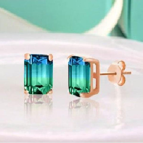 "Swarovski Crystals ""Blue and Green"" -Emerald Cut Bi Color 2CT Stud Earrings"