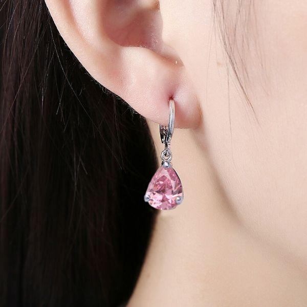 Daily Steals-Swarovski Crystals Pear Cut Pink Topaz Drop Earrings-Jewelry-