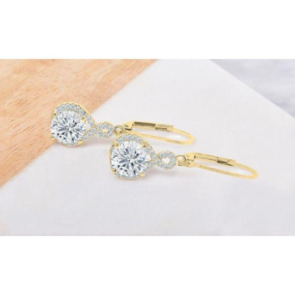 Daily Steals-Swarovski Crystals Round Cut Halo Drop Earrings-Jewelry-Yellow Gold-Drop-