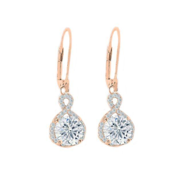 Daily Steals-Swarovski Crystals Round Cut Halo Drop Earrings-Jewelry-Rose Gold-Drop-