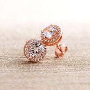 Daily Steals-Swarovski Crystals Round Cut Halo Drop Earrings-Jewelry-Rose Gold-Stud-