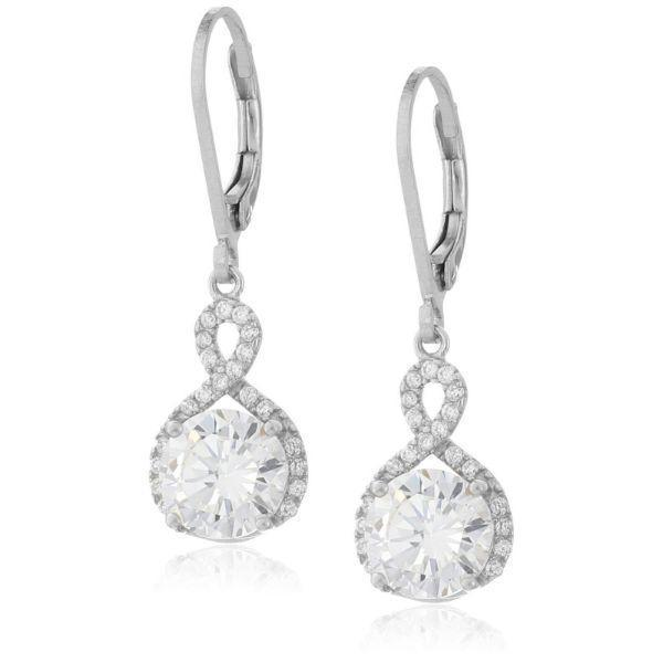 Daily Steals-Swarovski Crystals Round Cut Halo Drop Earrings-Jewelry-Silver-Drop-