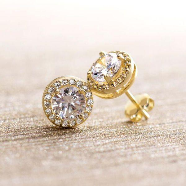 Daily Steals-Swarovski Crystals Round Cut Halo Drop Earrings-Jewelry-Yellow Gold-Stud-