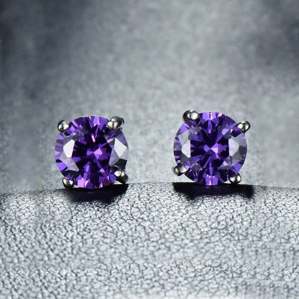 1.00 CT Amethyst Round 6mm Stud Earrings Made with Swarovski Crystals-Daily Steals