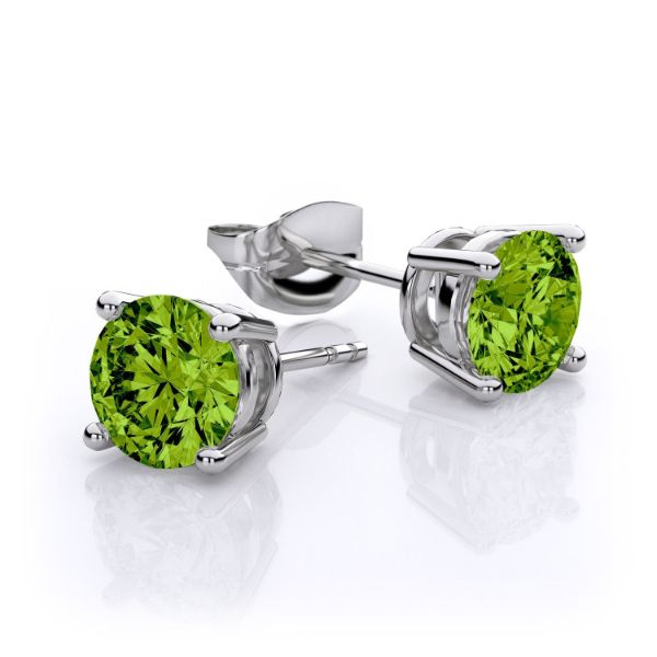 1.00 CT Peridot Round 6mm Stud Earrings Made with Swarovski Crystals-Daily Steals