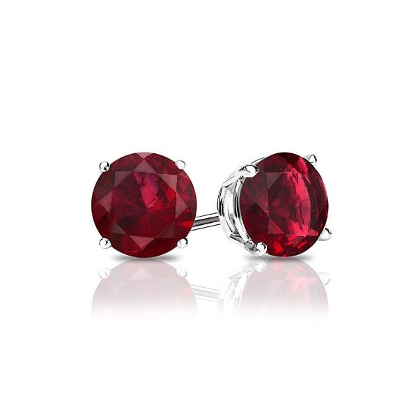 1.00 CT Ruby Round 6mm Stud Earrings Made with Swarovski Crystals-Daily Steals