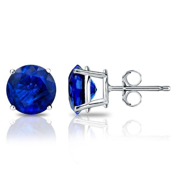 1.00 CT Sapphire Round 6mm Stud Earrings Made with Swarovski Crystals-Daily Steals