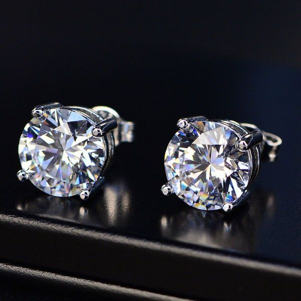 1.00 CT White Topaz Round 6mm Stud Earrings-Daily Steals