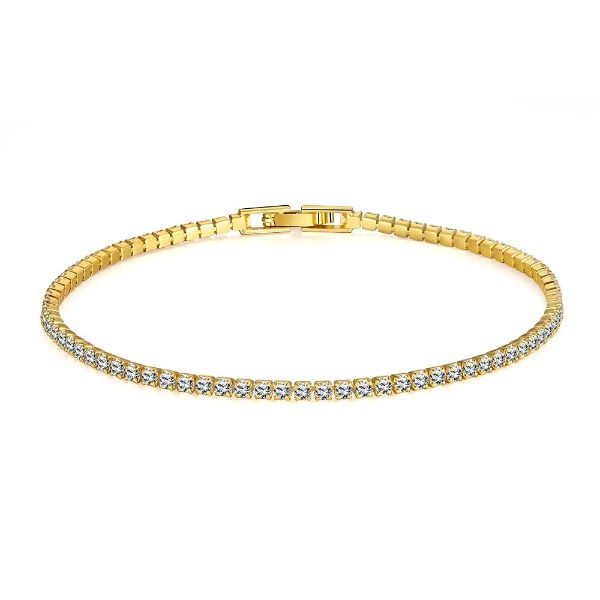 10.00 CT Classic Tennis Bracelet Made with Swarovski Crystals-Yellow Gold-Daily Steals