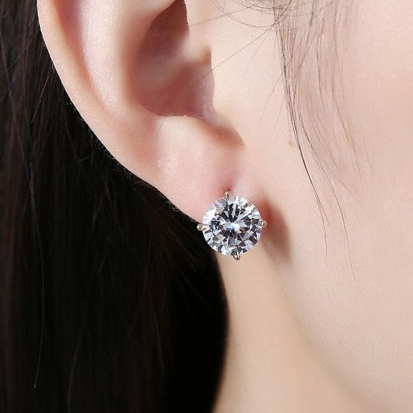 10mm Diamond Created Huggie Earrings Made with Swarovski Crystals-Daily Steals