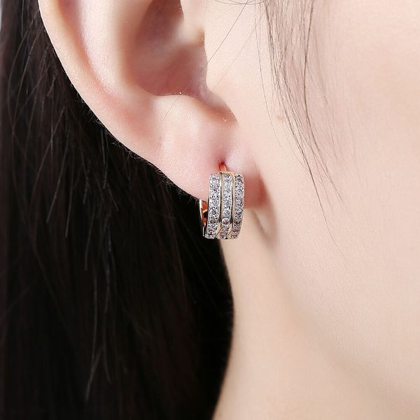 15mm Pave Triple Row Huggie Earrings Made with Swarovski Crystals-Daily Steals