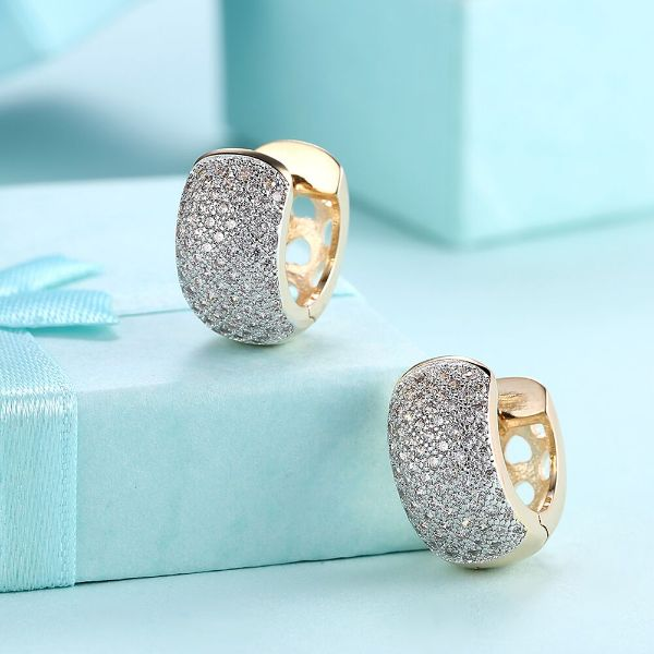 16mm Pave Heart Filigree Huggie Earrings Made with Swarovski Crystals-Daily Steals