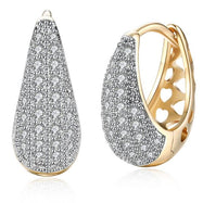 26 Stone Teardrop Pave Huggie Earring 18K White Gold Plated-Daily Steals
