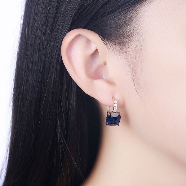 2.00 Ct Sapphire Leverback Princess Cut Earrings Made with Swarovski Crystals-Daily Steals