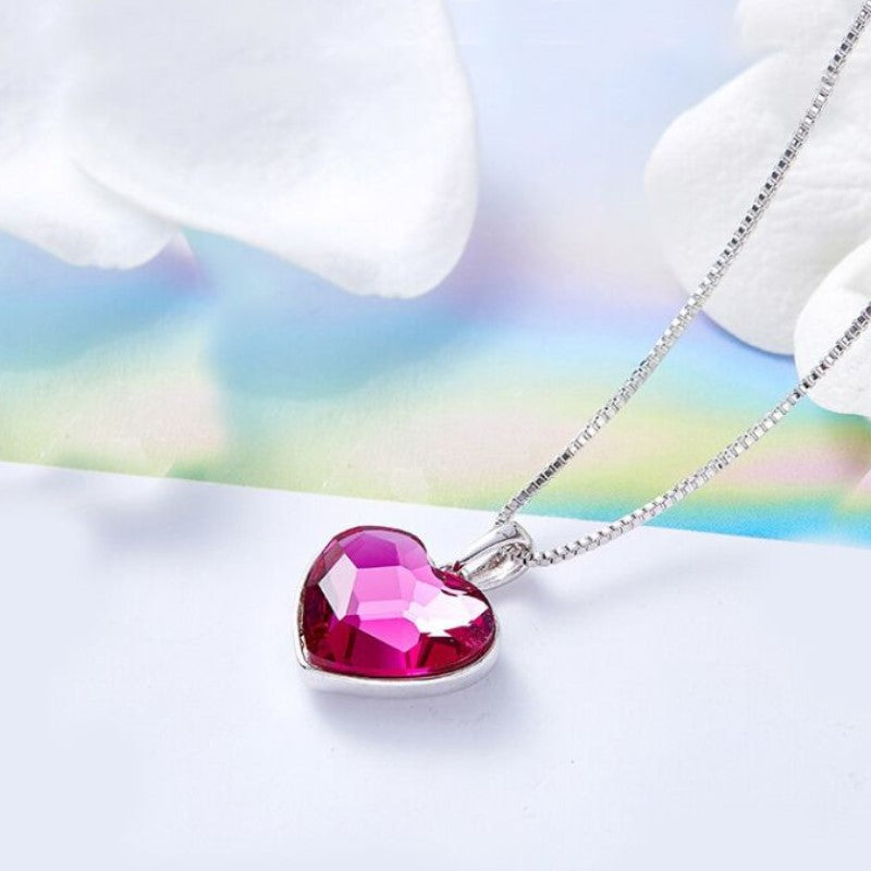 3.44 CT Pink Topaz Heart Necklace Made with Swarovski Crystals-Daily Steals