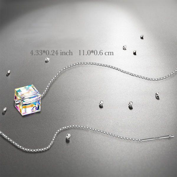 "4.33"" Aurora Borealis Cube Drop Earrings Made with Swarovski Crystals-Daily Steals"