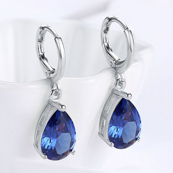4.50 CT Marquise Sapphire Pear Cut 28mm Drop Earrings Made with Swarovski Crystals-Daily Steals