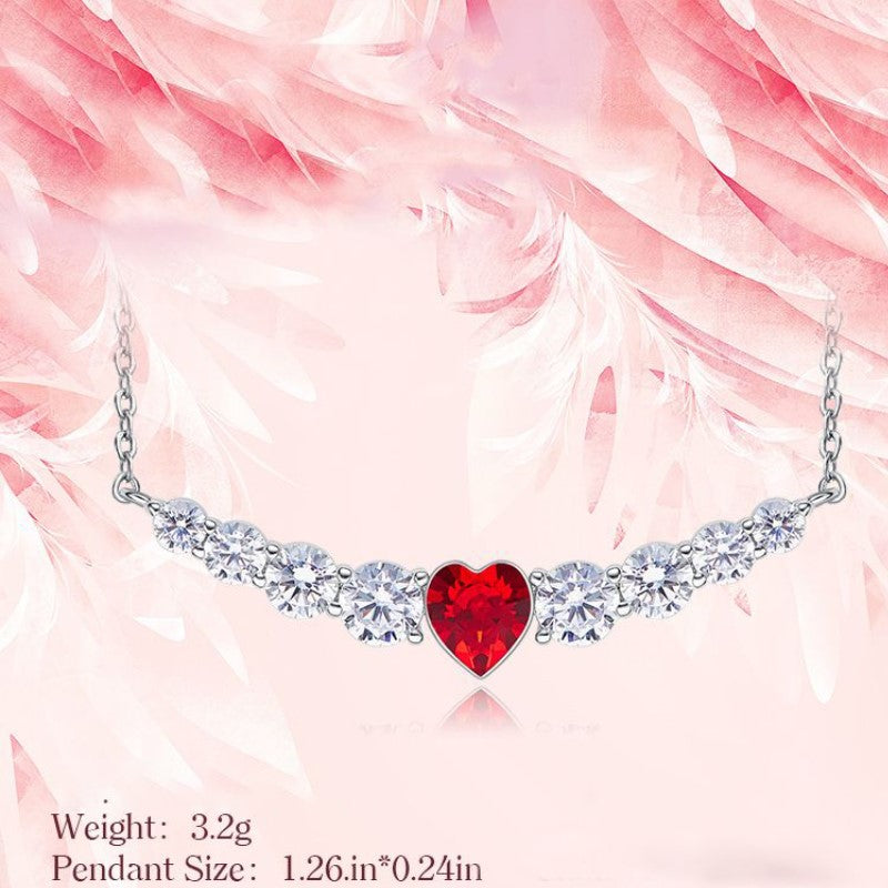 8.00 CT Ruby Heart Necklace Made with Swarovski Crystals-Daily Steals