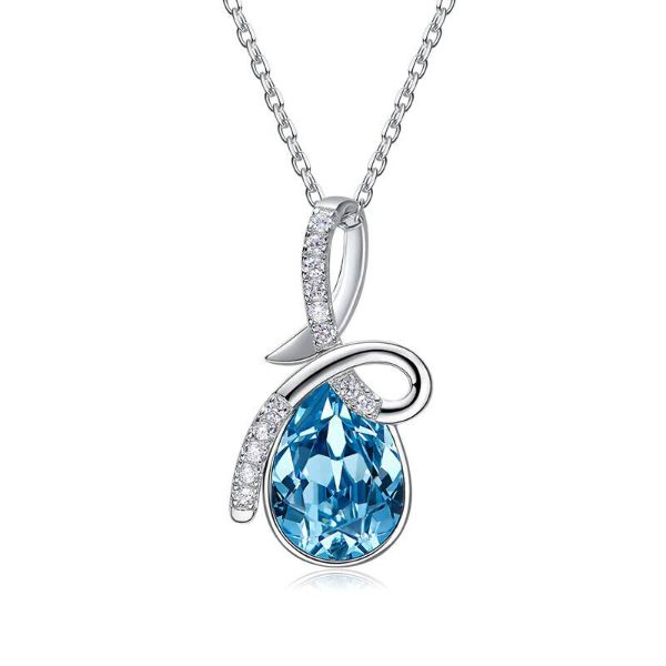 Aquamarine Pear Cut Twist Pave Necklace Made with Swarovski Crystals-Daily Steals