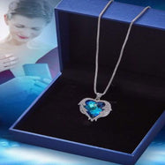 Bermuda Blue Heart Wings of an Angel Necklace Made with Swarovski Crystals-Daily Steals