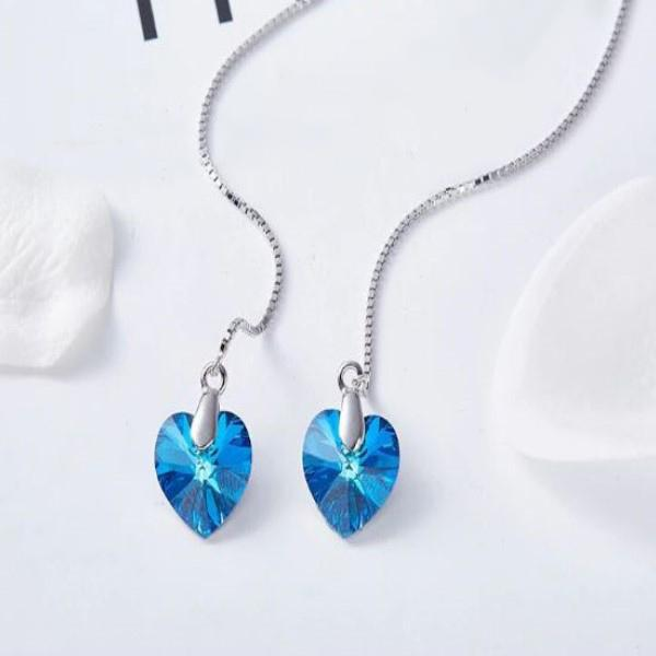 Bermuda Blue Threader Drop Earrings Made with Swarovski Crystals-Daily Steals