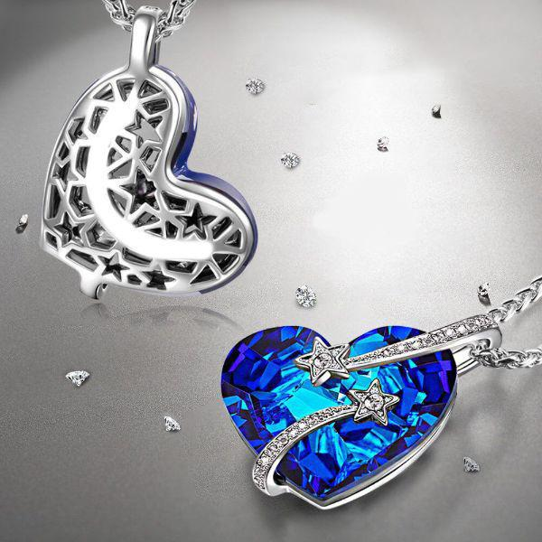 Bermuda Blue Venus Shooting Stars Necklace Made with Swarovski Crystals-Daily Steals