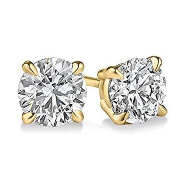 Classic 4 Prong Stud Earrings Made with Swarovski Crystals-Yellow Gold-Daily Steals