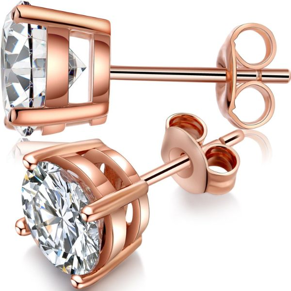 Classic 4 Prong Stud Earrings Made with Swarovski Crystals-Rose Gold-Daily Steals