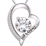 Daddys Girl - Pave Heart Necklace Made with Swarovski Crystals-Daily Steals