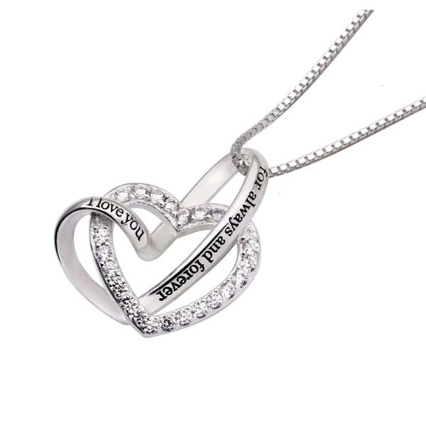 I Love you for always and forever - Pave Heart Necklace Made with Swarovski Crystals-Daily Steals
