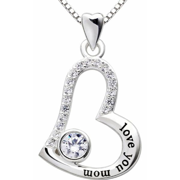Love you mom - Pave Heart Necklace Made with Swarovski Crystals-Daily Steals