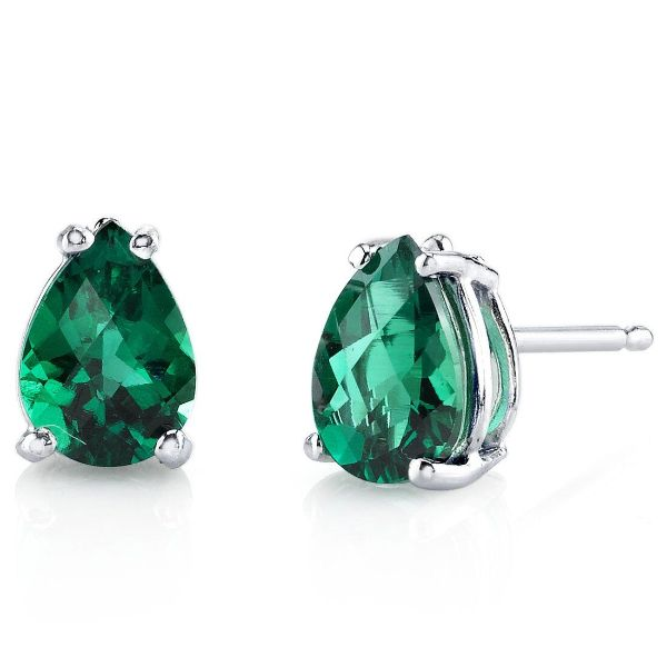 Pear Cut Emerald Stud Earrings Made with Swarovski Crystals-Daily Steals