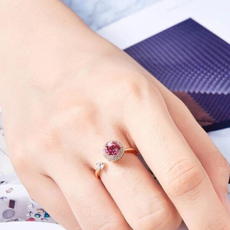 Pink Topaz Pave Adjustable Ring Made with Swarovski Crystals-Daily Steals
