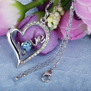 Sapphire LOVE Pave Heart Necklace Made with Swarovski Crystals-Daily Steals