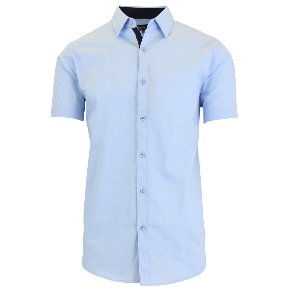 Men's Short-Sleeve Solid Button-Down Shirts-Light Blue-S-Daily Steals