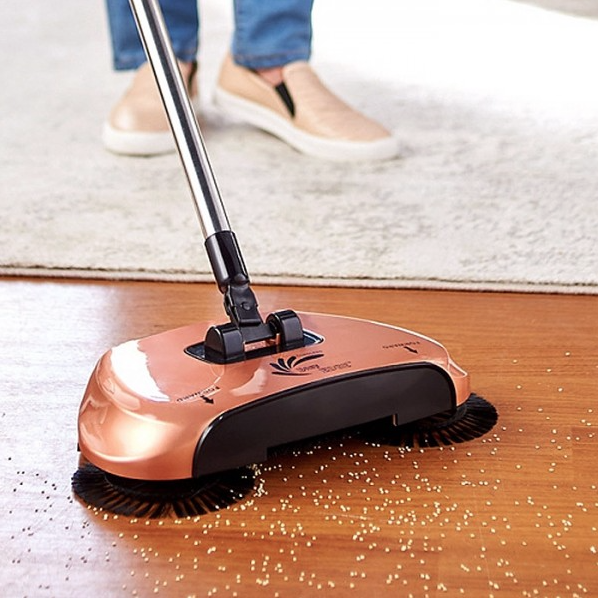 update alt-text with template Daily Steals-EasyEdge Lightweight Hard Floor Swivel Sweeper-Home and Office Essentials-Rose Gold-