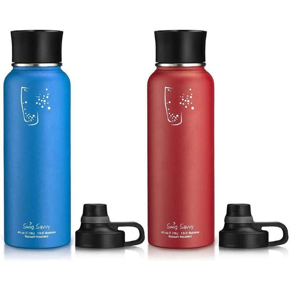 Swig Savvy Stainless Steel Wide Mouth Insulated Water Bottle 40oz - 2 Pack-Red/Blue-